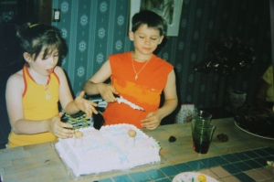 My twin brother & I at our 1st communion party (my jesus-loving days).