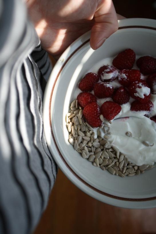 Greek yogurt/raspberries/sunflower seeds.